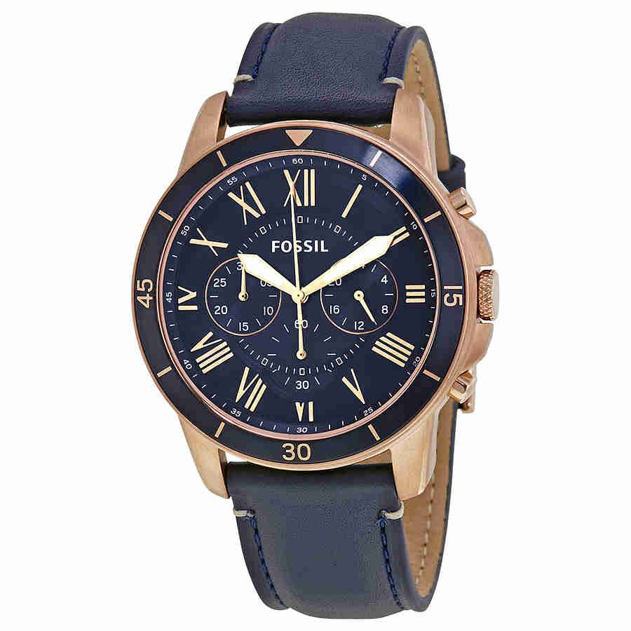 Fossil Men's Chronograph Grant Sport Blue Leather Strap Watch FS5237