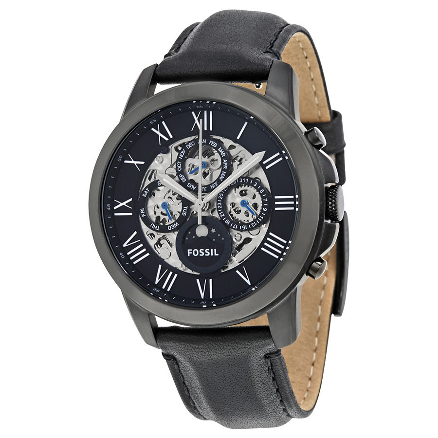 984606d1ce88 Fossil Men s Grant Black Leather Japanese Automatic Fashion Watch ME3028
