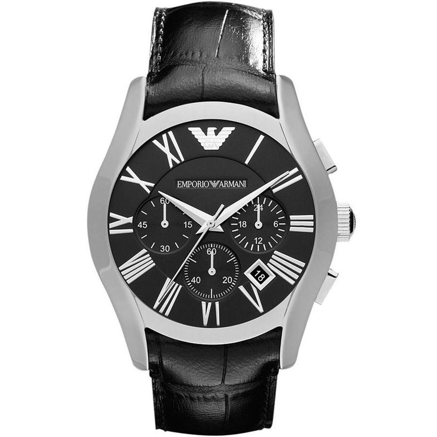 Emporio Armani Watch, Men's Chronograph Black Croco Leather Strap AR1633