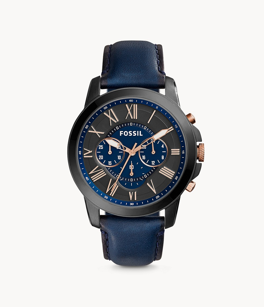 Fossil Men's Chronograph Grant Blue Leather Strap Watch FS5061