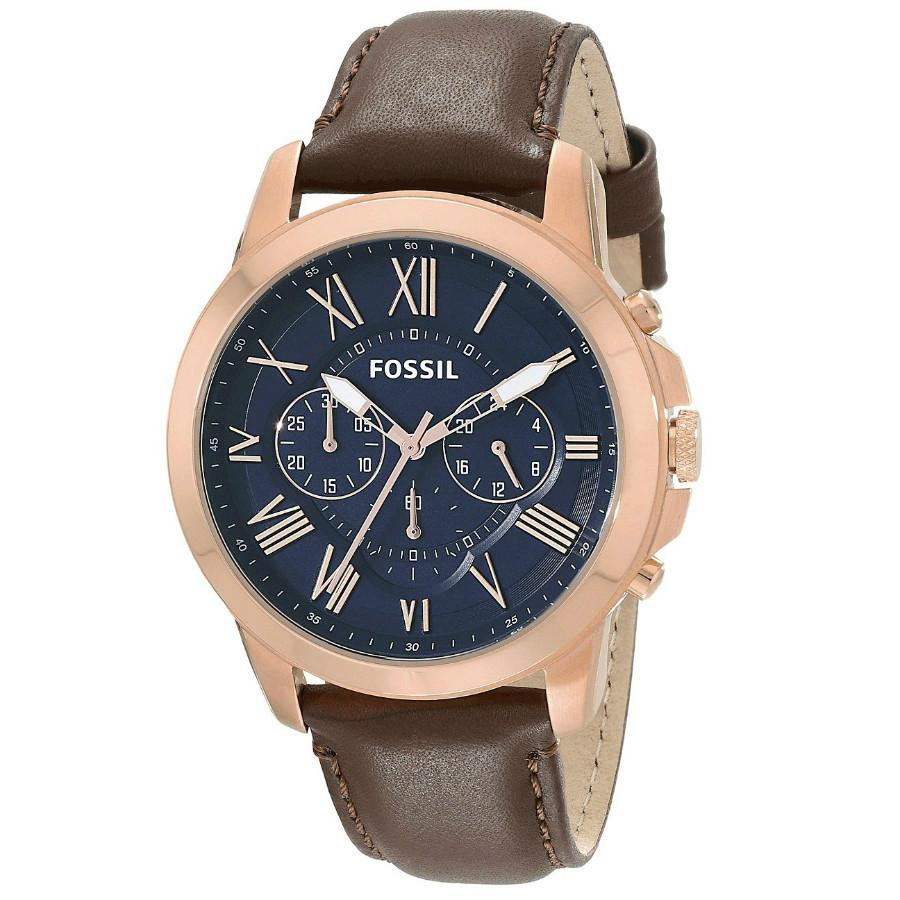 Fossil Men's Chronograph Grant Brown Leather Strap Watch FS5068