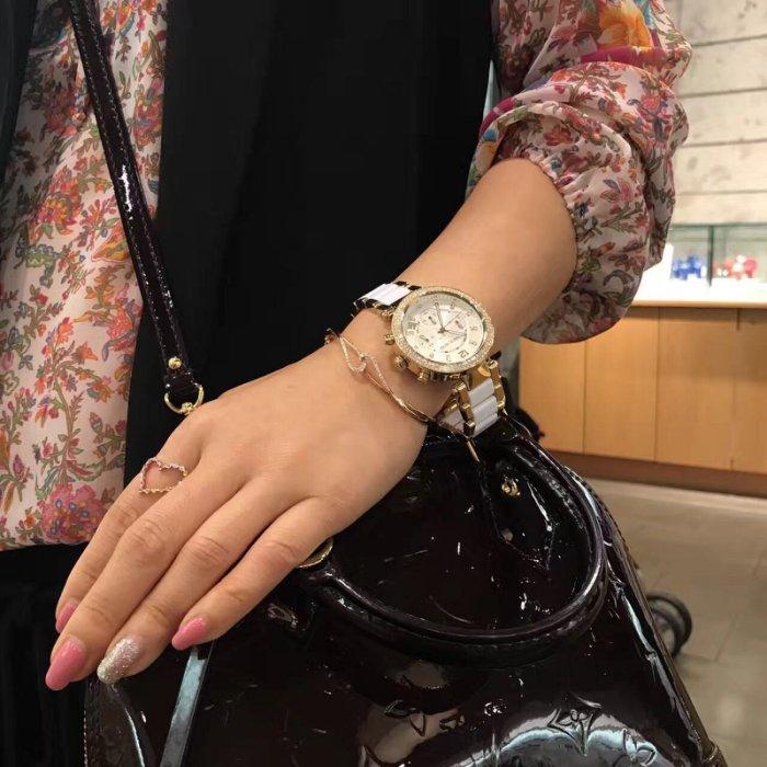 86d30123ec50 Michael Kors Women s Chronograph Parker White Acetate and Gold-Tone  Stainless Steel Bracelet Watch MK6119