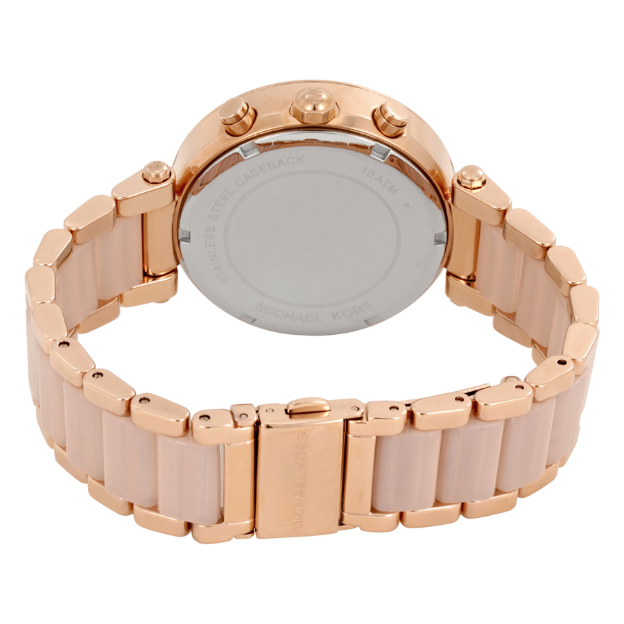5488b0e7ab31 Michael Kors Women s Chronograph Parker Blush and Rose Gold-Tone Stainless  Steel Bracelet Watch MK5896