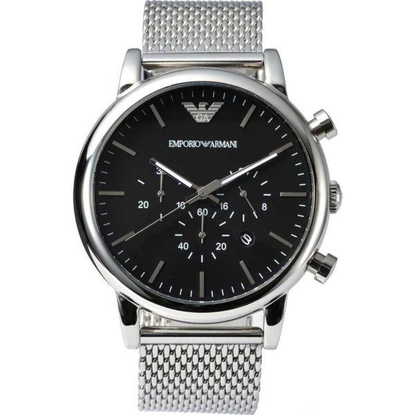 b80f9dd73 Emporio Armani Men's Chronograph Stainless Steel Mesh Bracelet Watch AR1808