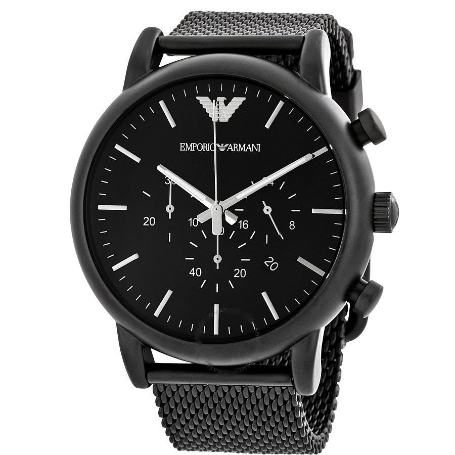 Emporio Armani Men's Chronograph Luigi Black Stainless Steel Mesh Bracelet Watch AR1968