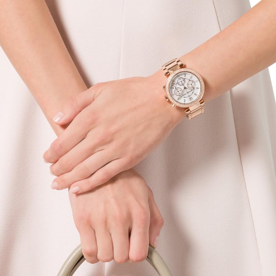 659032df8613 Michael Kors Women s Chronograph Parker Rose Gold-Tone Stainless Steel Bracelet  Watch MK5491