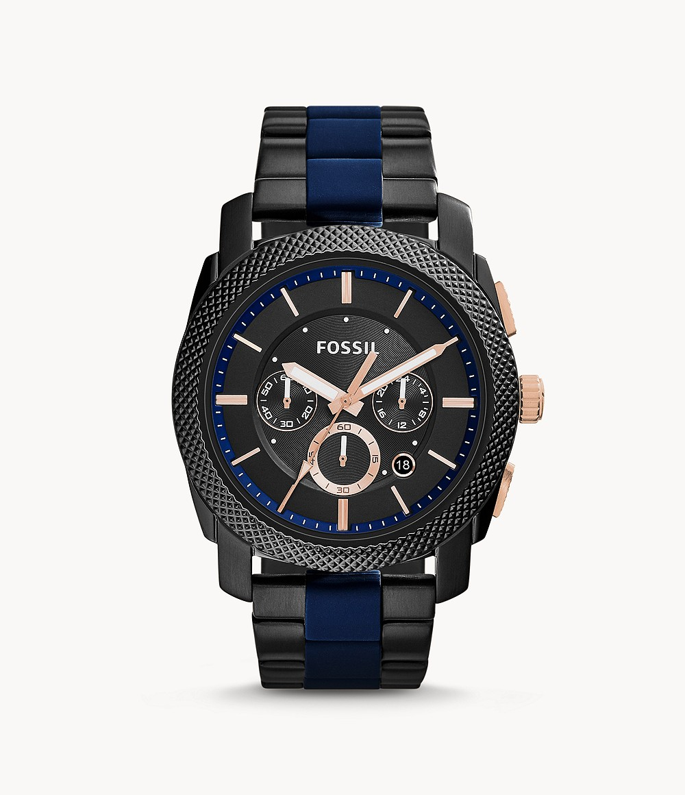 Fossil Men's Machine Black and Blue Chronograph Watch FS5164