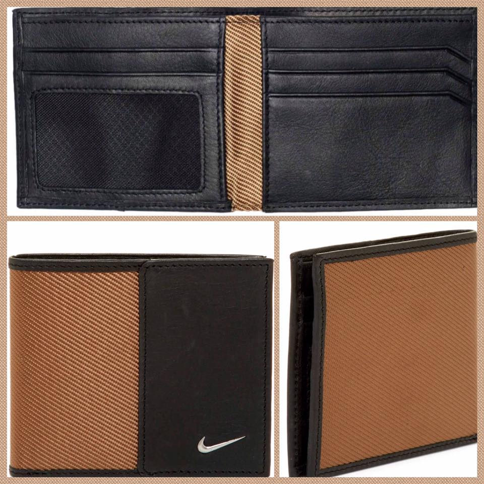 Nike Leather & Twill Billfold Tan Wallet