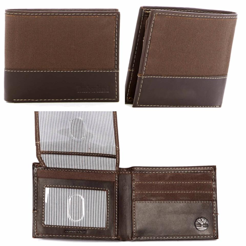 Timberland Baseline Canvas Leather Dark Earth Passcase Wallet