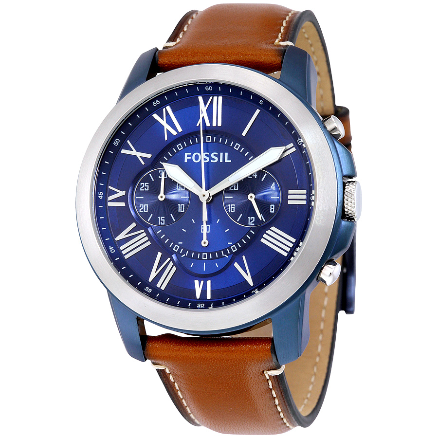 Fossil Men's Grant Chronograph Blue Dial Watch FS5151