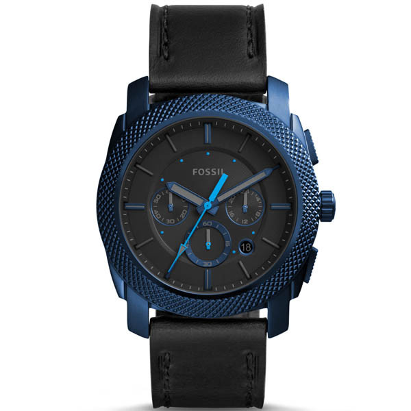 Fossil Men's Machine Blue Leather Japanese Quartz Fashion Watch FS5361