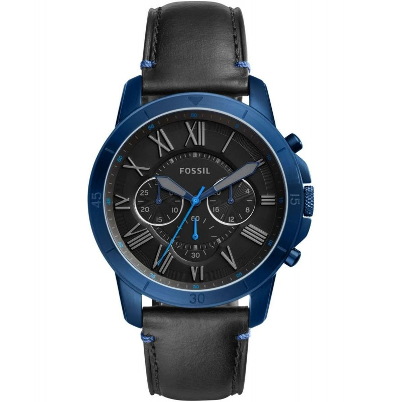 Fossil Men's Grant Sport Chronograph Black Leather Watch FS5342