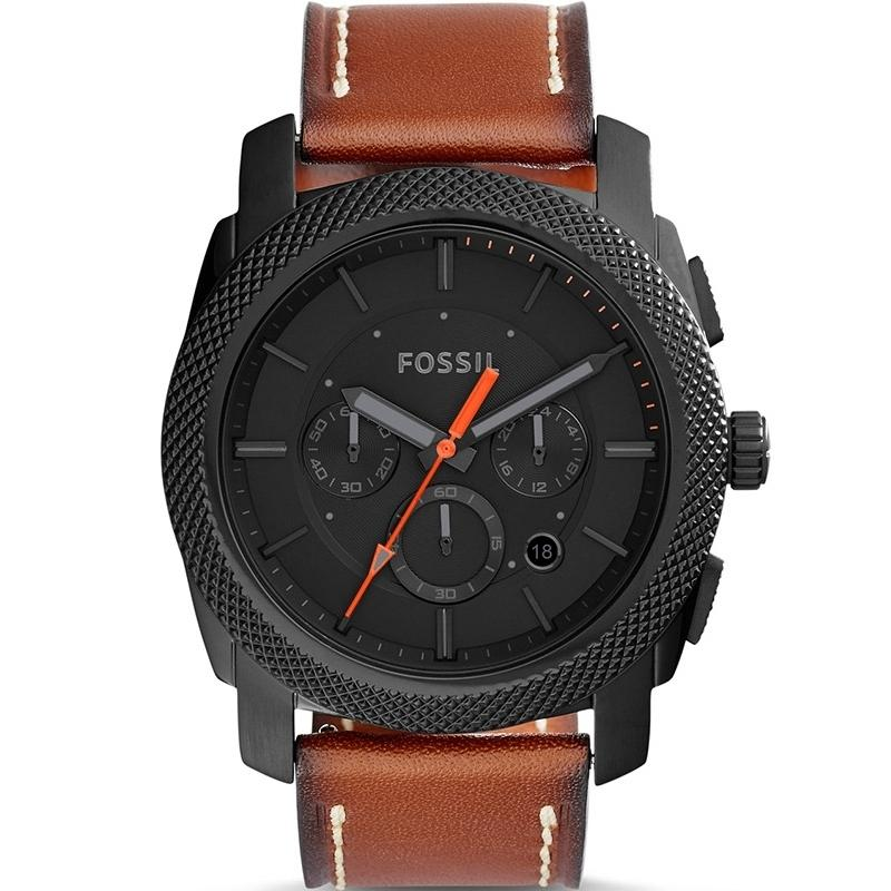 Fossil Men's Machine Brown Leather Chronograph Watch FS5234
