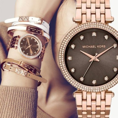 5b0c045506d5 ... Parker Rose Gold-Tone Stainless Steel   Rose Glitter Acetate Bracelet Watch  MK6285. 30