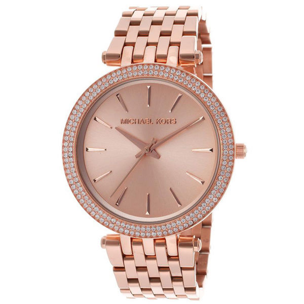 Michael Kors Women's Rose Gold-Tone Darci Crystallized Watch MK3192