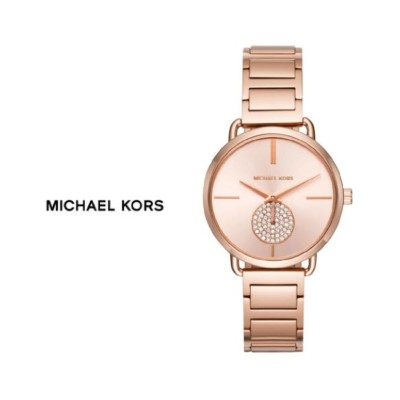 ac05caa9f21d Michael Kors Women s  Portia  Rose Gold-tone Stainless Steel Crystal Pave  Link Bracelet Watch MK3640