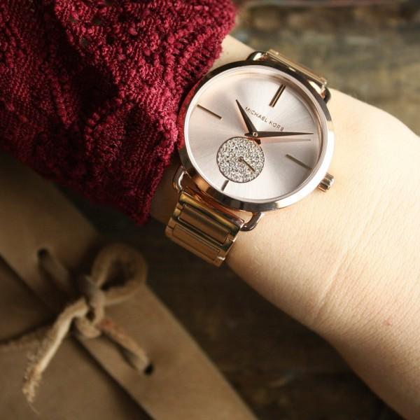 1537b1d8bb9f Michael Kors Women s  Portia  Rose Gold-tone Stainless Steel Crystal Pave  Link Bracelet Watch MK3640