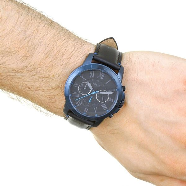 a40c6bb4a5f46 Fossil Men s Grant Sport Chronograph Black Leather Watch FS5342 ...