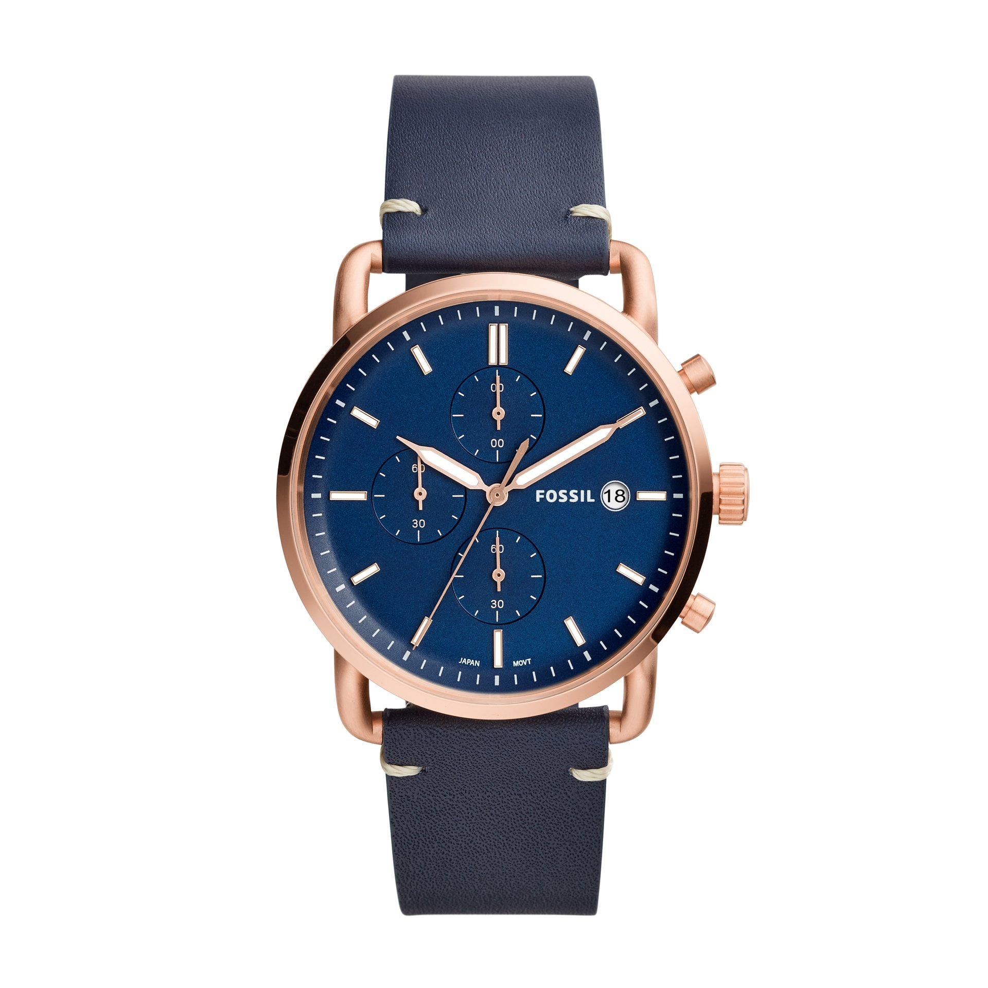Fossil Men's Chronograph Commuter Navy Leather Strap Watch FS5404