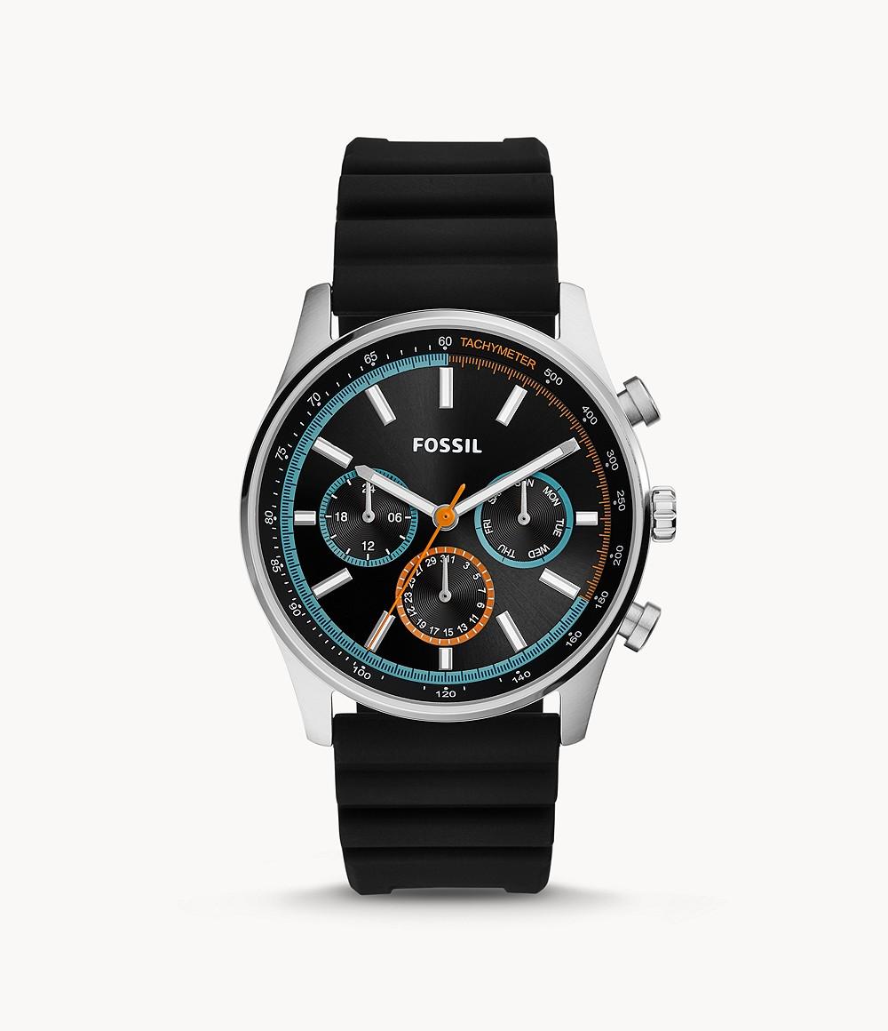 Fossil Men's Sullivan Multifunction Black Silicone Watch BQ2445