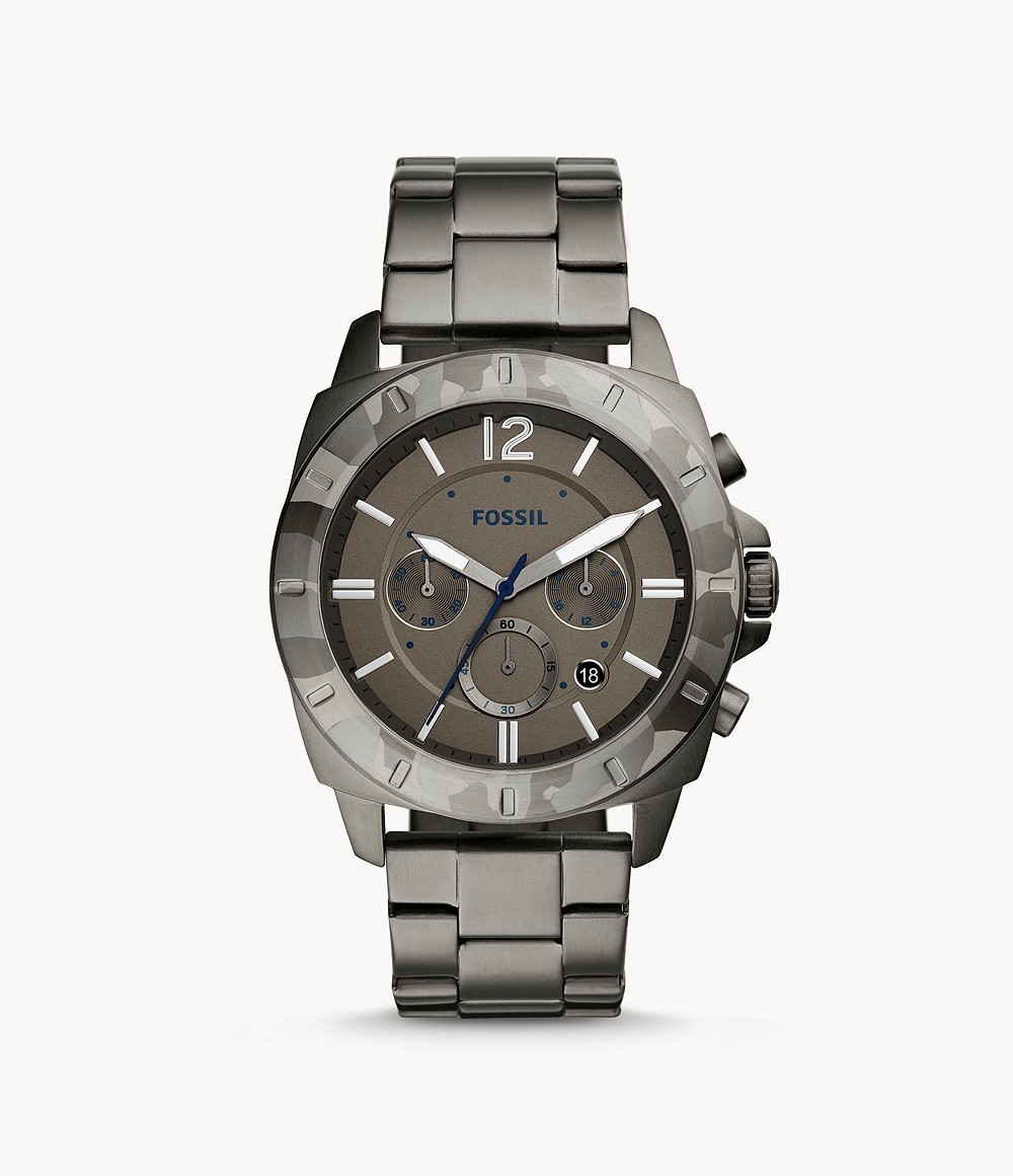 Fossil Men's Privater Sport Chronograph Smoke Stainless Steel Watch BQ2345