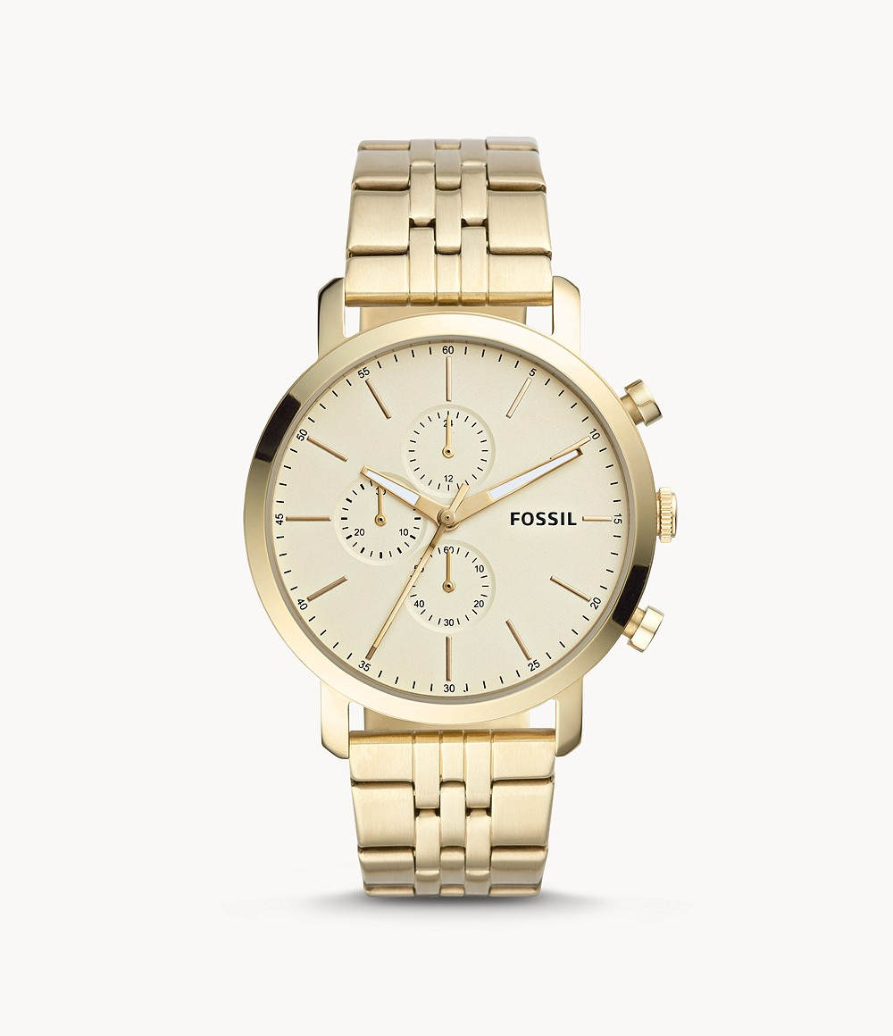 Fossil Men's Luther Chronograph Gold-Tone Stainless Steel Watch BQ2435