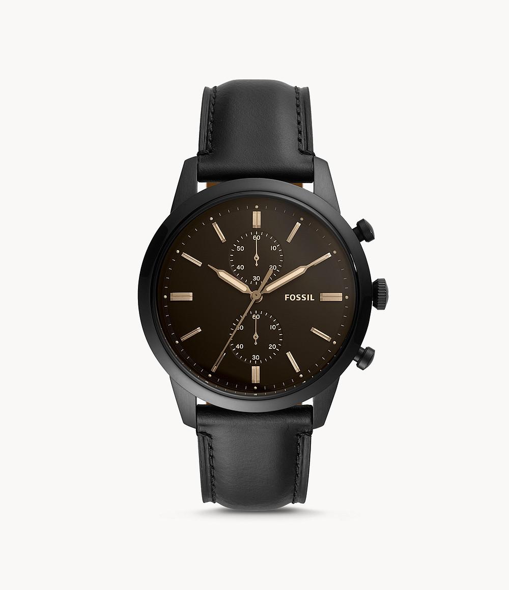 Fossil Men's Townsman 44mm Chronograph Black Leather Watch FS5585