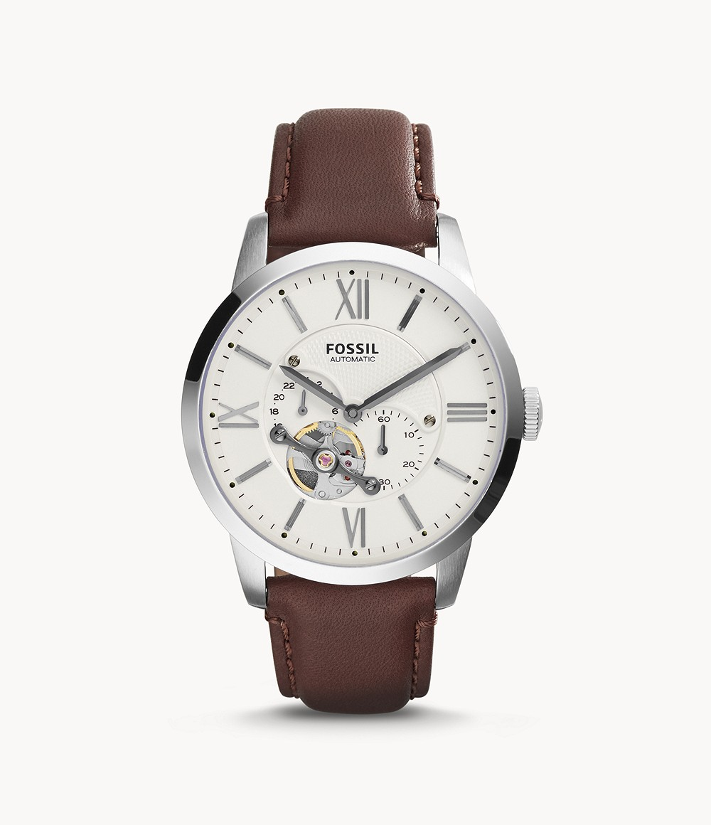 Fossil Men's Townsman Automatic Brown Leather Watch ME3064