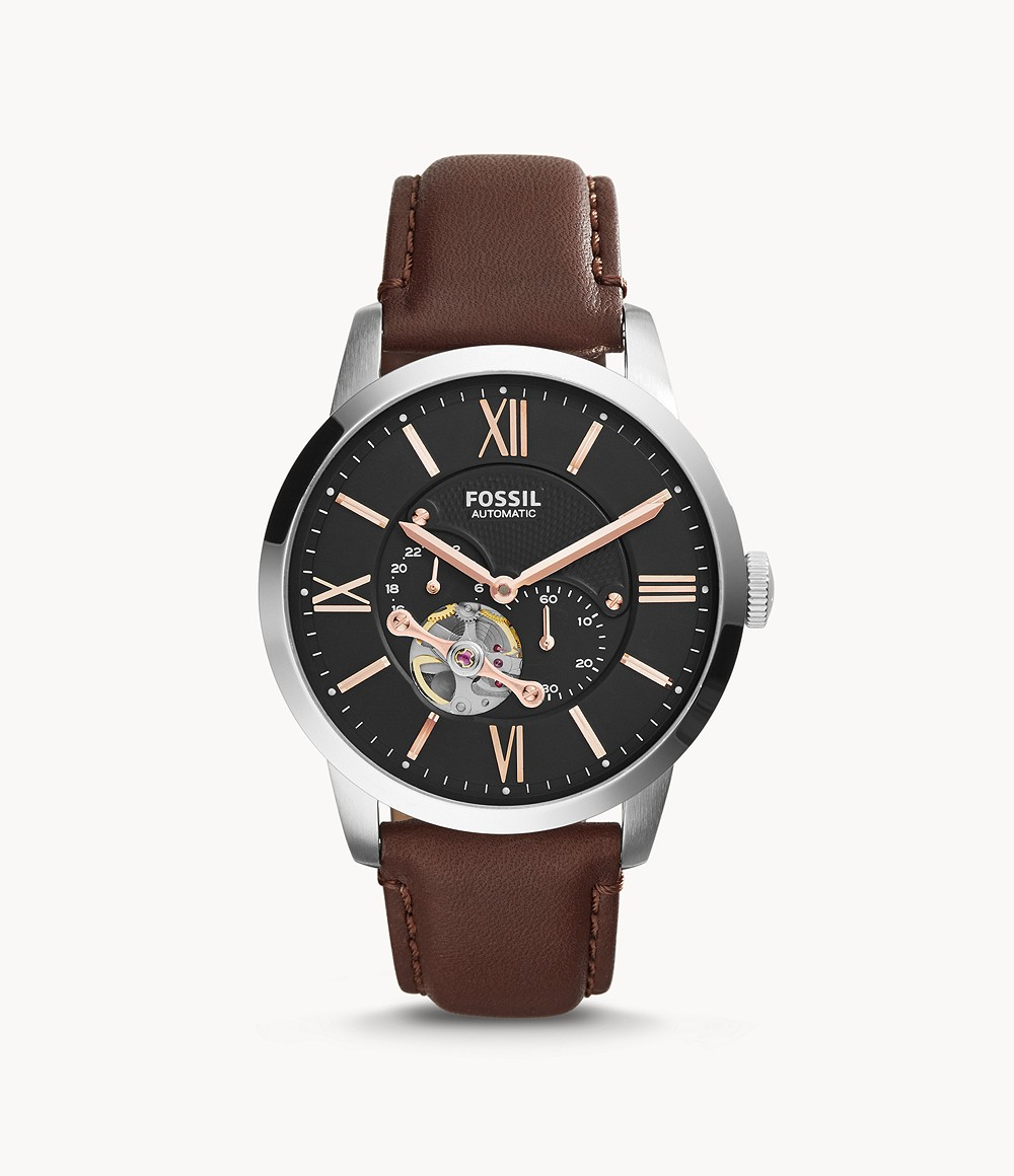 Fossil Men's Townsman Automatic Leather Watch Brown ME3061