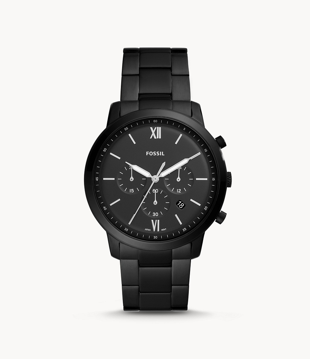 Fossil Men's Neutra Chronograph Black Stainless Steel Watch FS5474