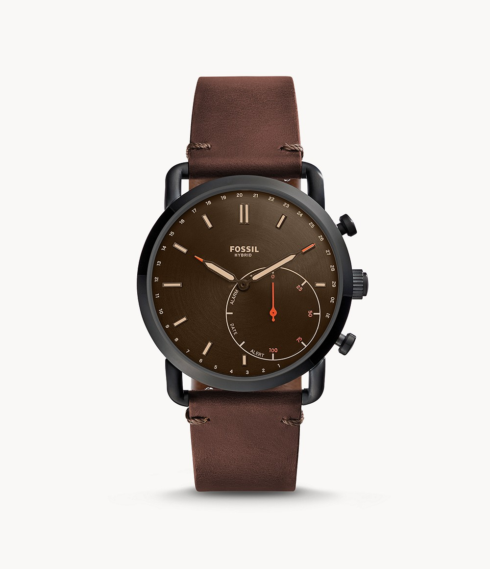 Fossil Men's Hybrid Smartwatch Commuter Dark Brown Leather FTW1149