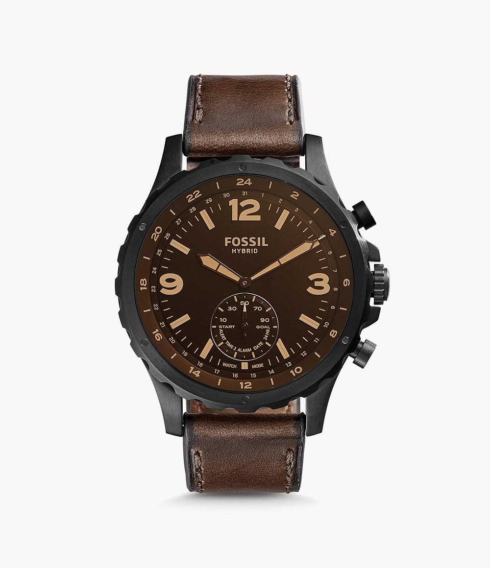 Fossil Men's Hybrid Smartwatch Nate Dark Brown Leather FTW1159