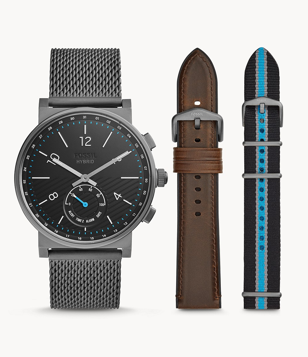 Fossil Men's Hybrid Smartwatch Barstow Smoke Stainless Steel Mesh Interchangeable Strap Box Set FTW1184SET