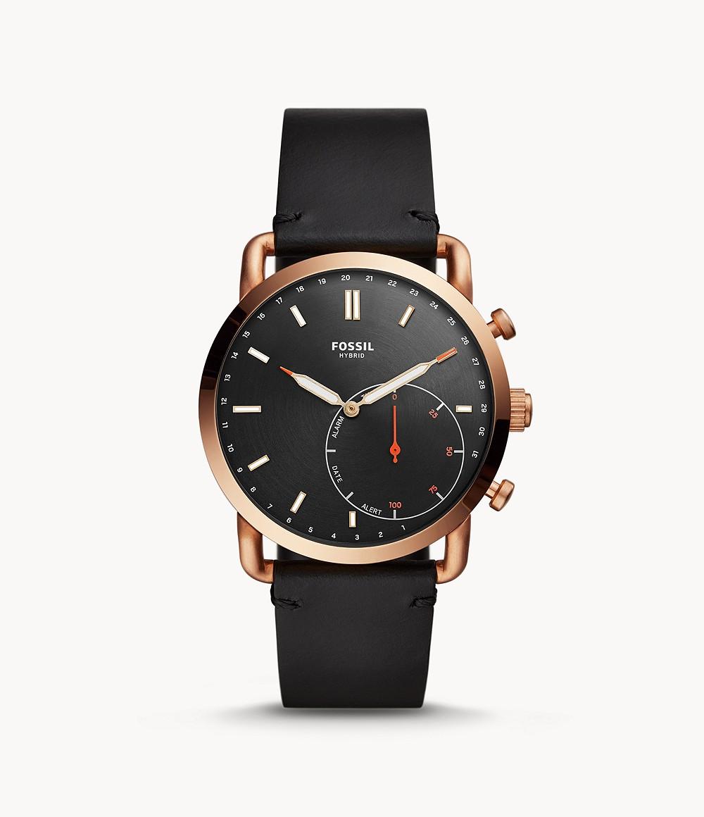 Fossil Men's Hybrid Smartwatch Commuter Black Leather FTW1176