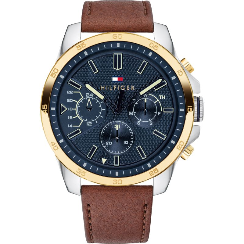 Tommy Hilfiger Men's Casual Watch With Brown Leather Strap 1791561