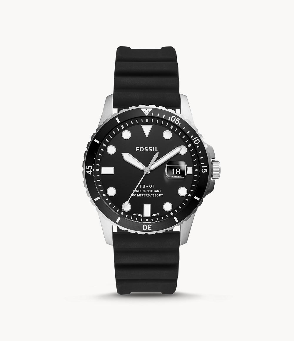 Fossil Men's FB-01 Three-Hand Date Black Silicone Watch FS5660