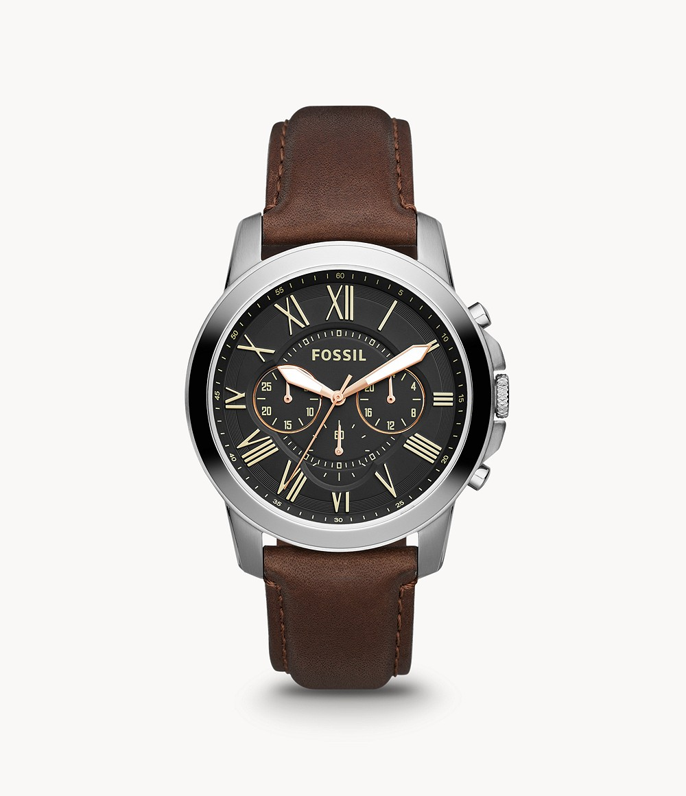 Fossil Men's Grant Chronograph Brown Leather Watch FS4813