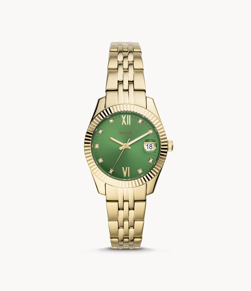 Fossil Women's Scarlette Mini Three-Hand Date Gold-Tone Stainless Steel Watch ES4903