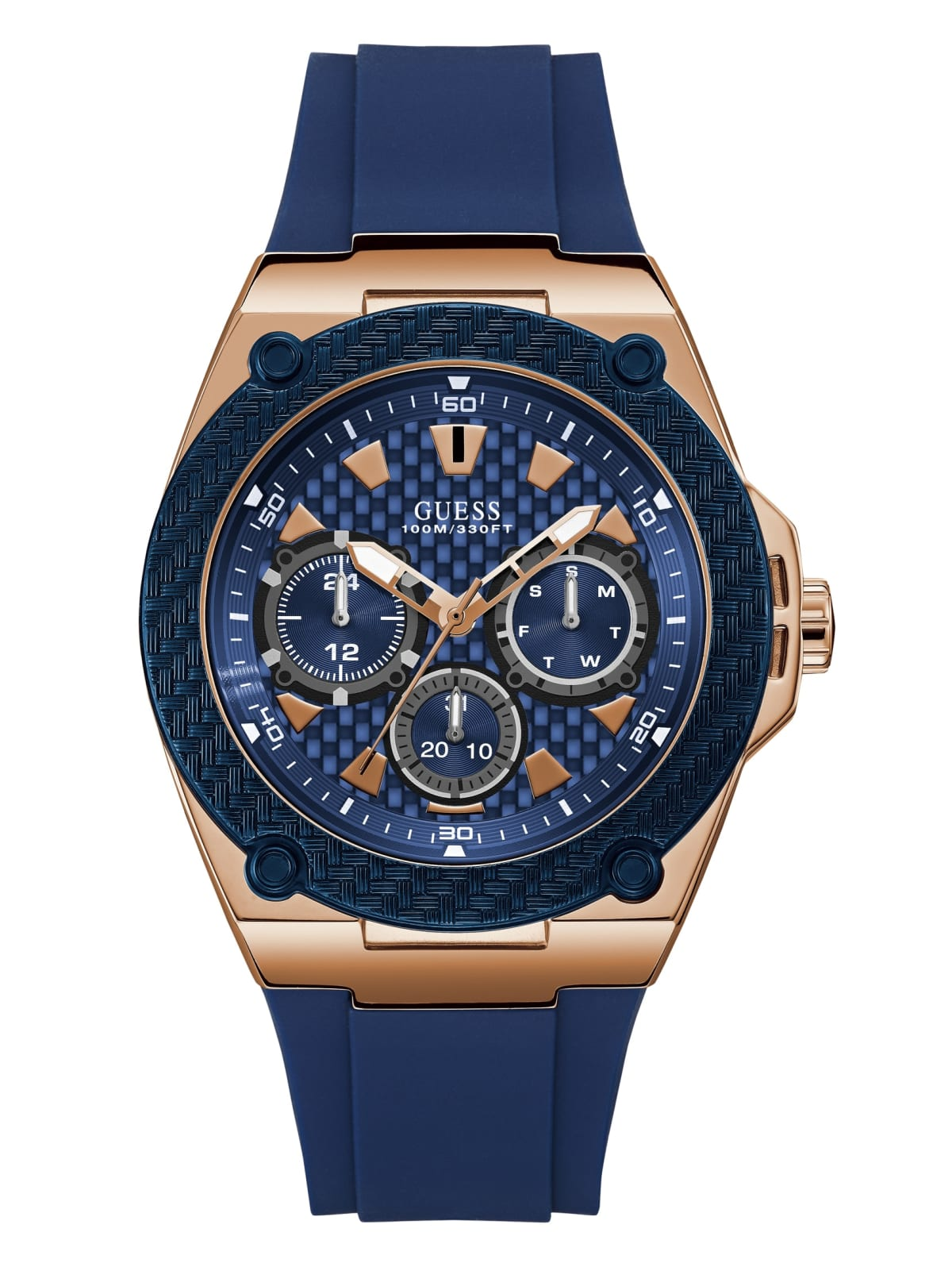 Guess Men's Stainless Steel Rose Gold Tone Case Blue Casual Silicone Watch U1049G2