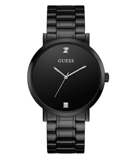 Guess Men's Black Case Stainless Steel Genuine Diamond Dial Watch U1315G3
