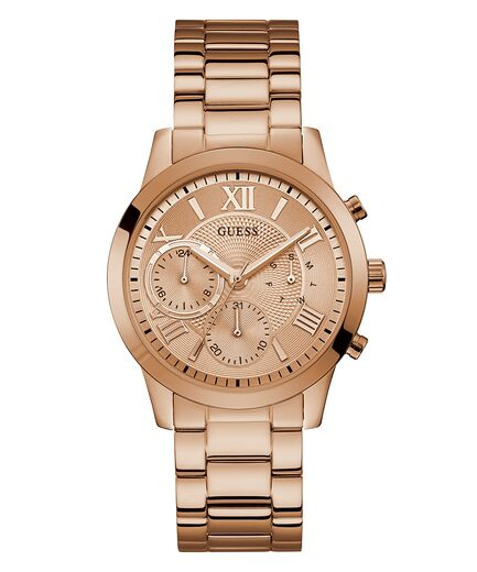 Guess Women's Rose Gold Tone Case Rose Gold Tone Stainless Steel Casual Watch U1070L3