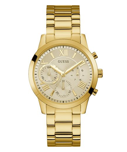 Guess Women's Gold Tone Case Gold Tone Stainless Steel Casual Watch U1070L2