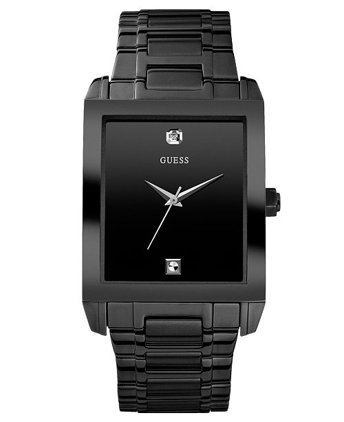 Guess Men's Diamond Accent Black Ion Plated Stainless Steel Bracelet Watch U12557G1