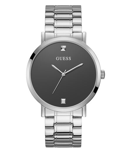 Guess Men's Silver Tone Case Silver Tone Stainless Steel Watch U1315G1