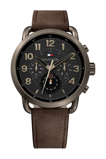 Tommy Hilfiger Men's Briggs Multifunction Brown Leather Band Watch 1791425