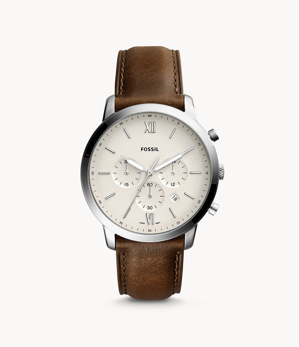 Fossil Men's Neutra Chronograph Brown Leather Watch FS5380