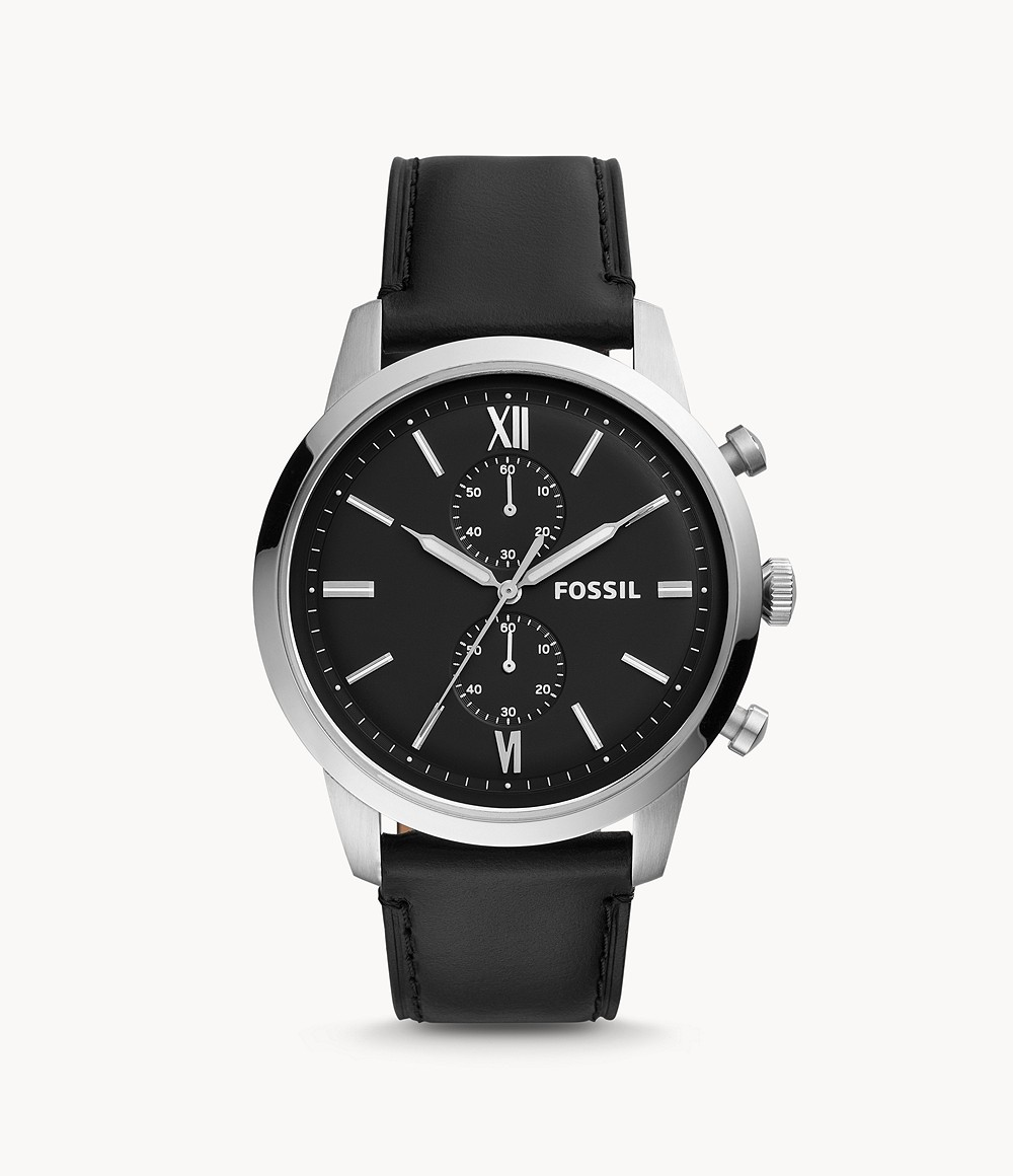 Fossil Men's Townsman Chronograph Black Leather Watch FS5548