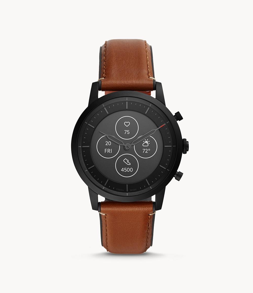 Fossil Men's Hybrid Smartwatch HR Collider Tan Leather FTW7007
