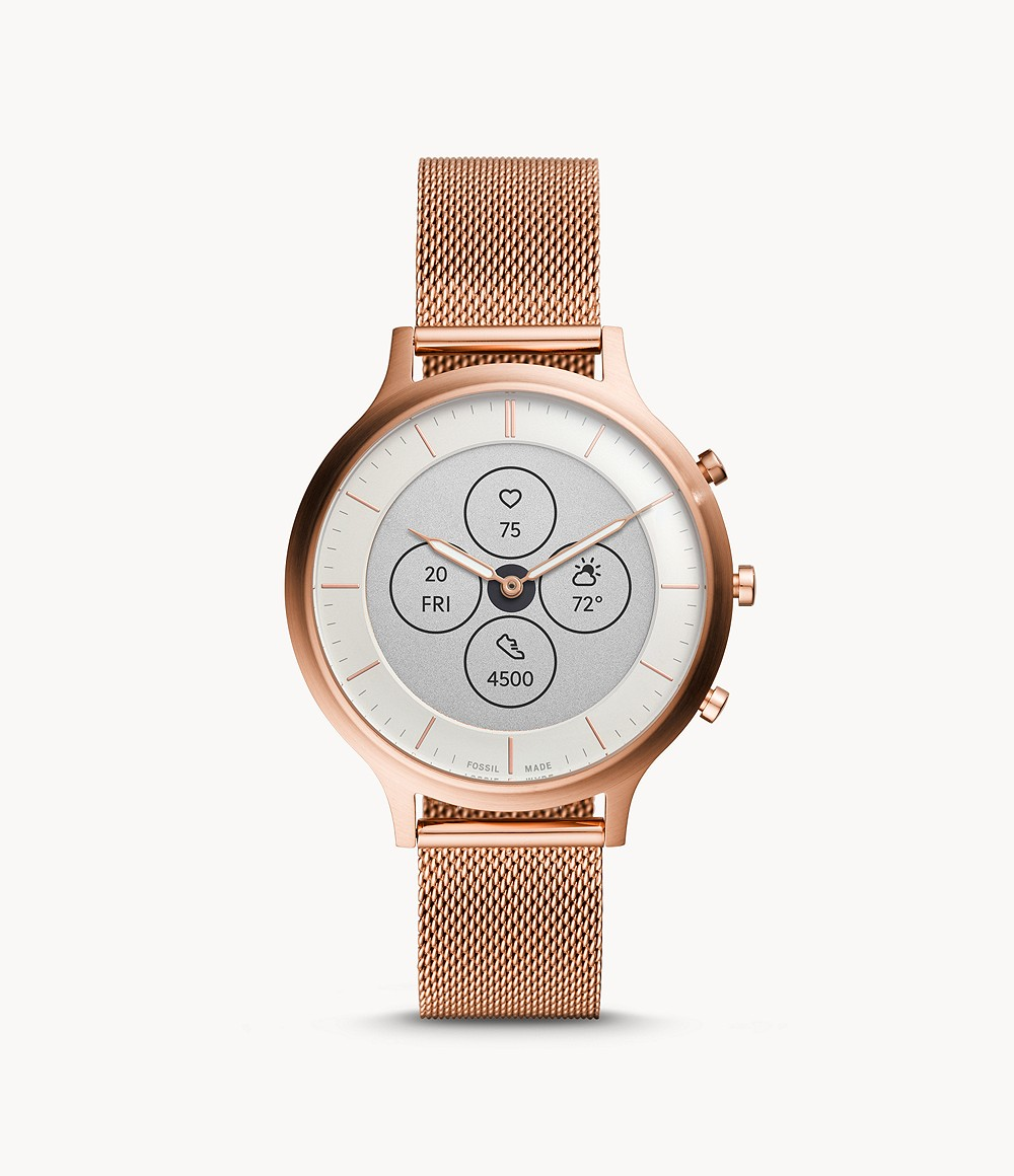 Fossil Women's Hybrid Smartwatch HR Charter Rose Gold-Tone Stainless Steel Mesh FTW7014