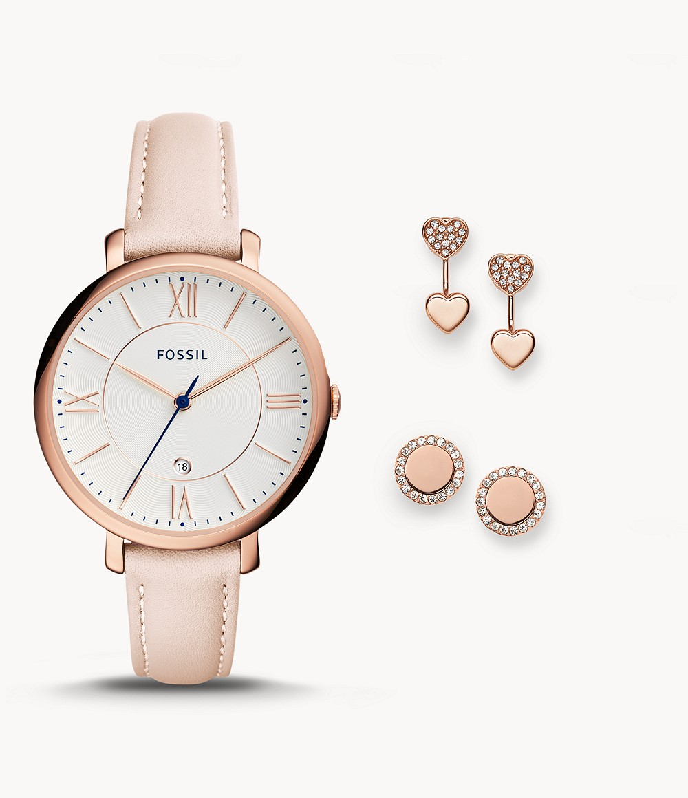 Fossil Women's Jacqueline Three-Hand Date Blush Leather Watch and Jewelry Box Set ES4202SET